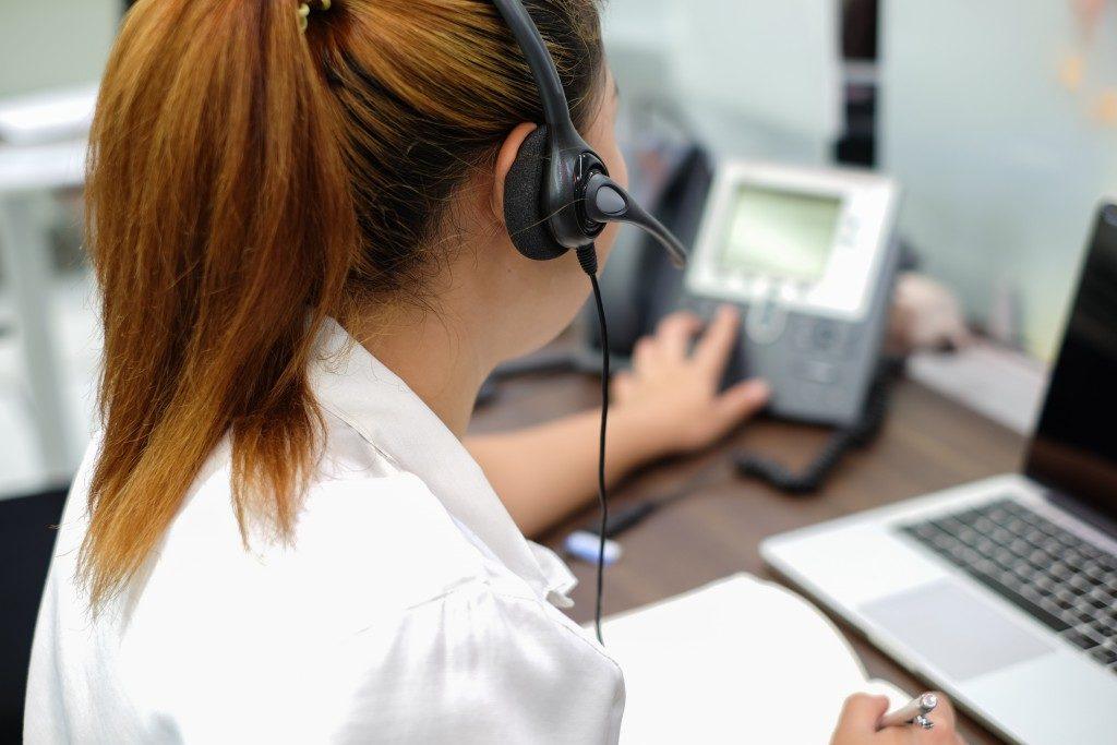 Female employee taking a call