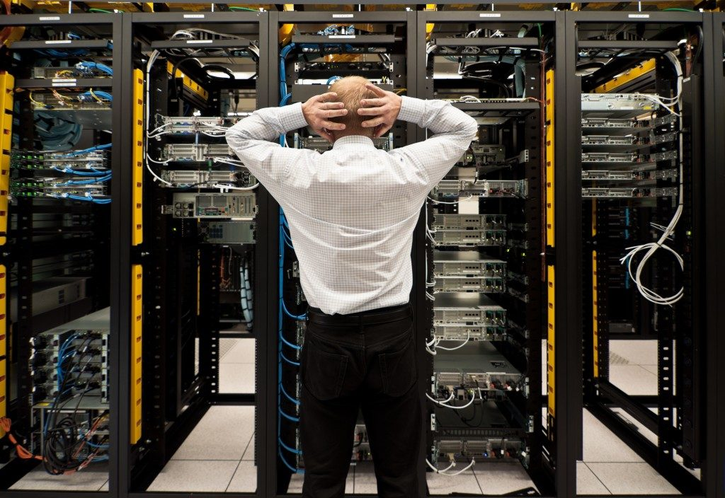 Man looking at the servers