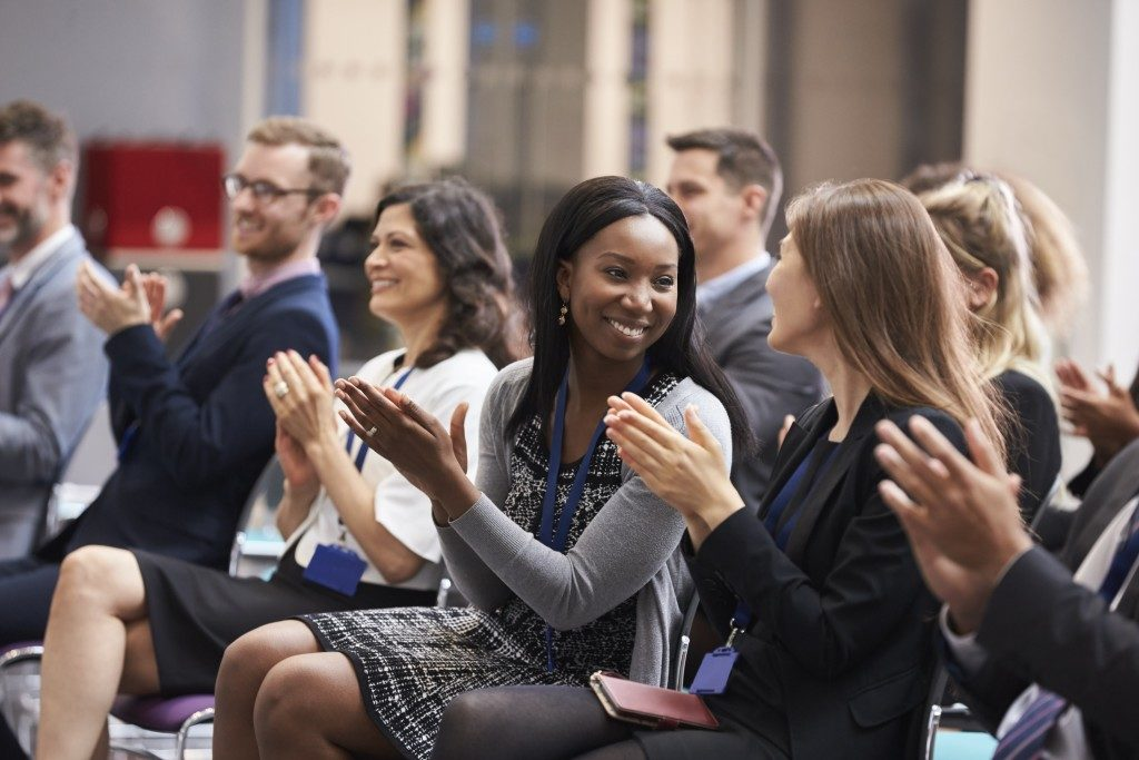 an applause after a presentation