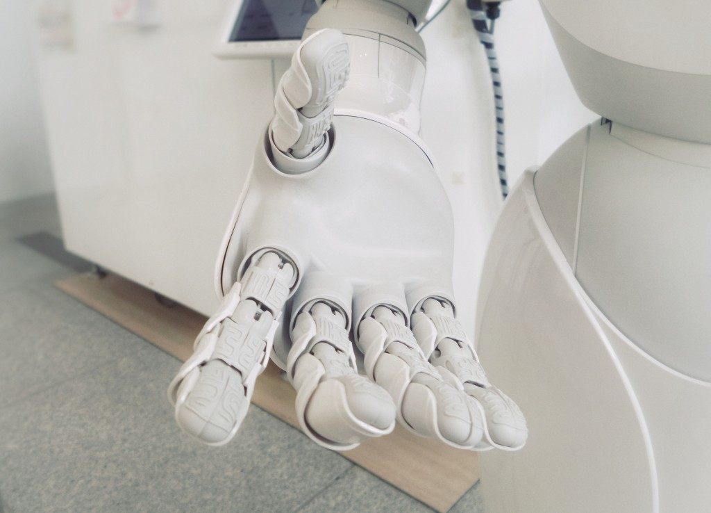 robotic hand with an open palm